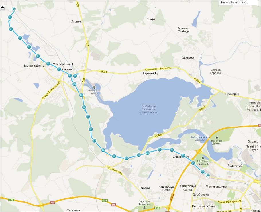 карта велопоездки